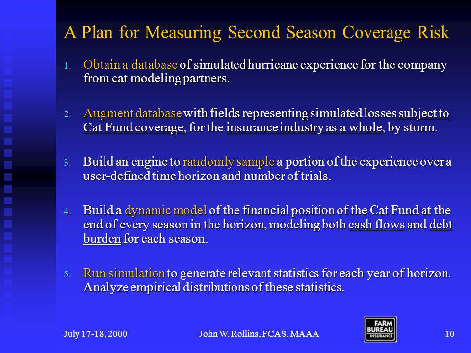 July 17-18, 2000John W. Rollins, FCAS, MAAA10 A Plan for Measuring Second Season Coverage Risk 1.