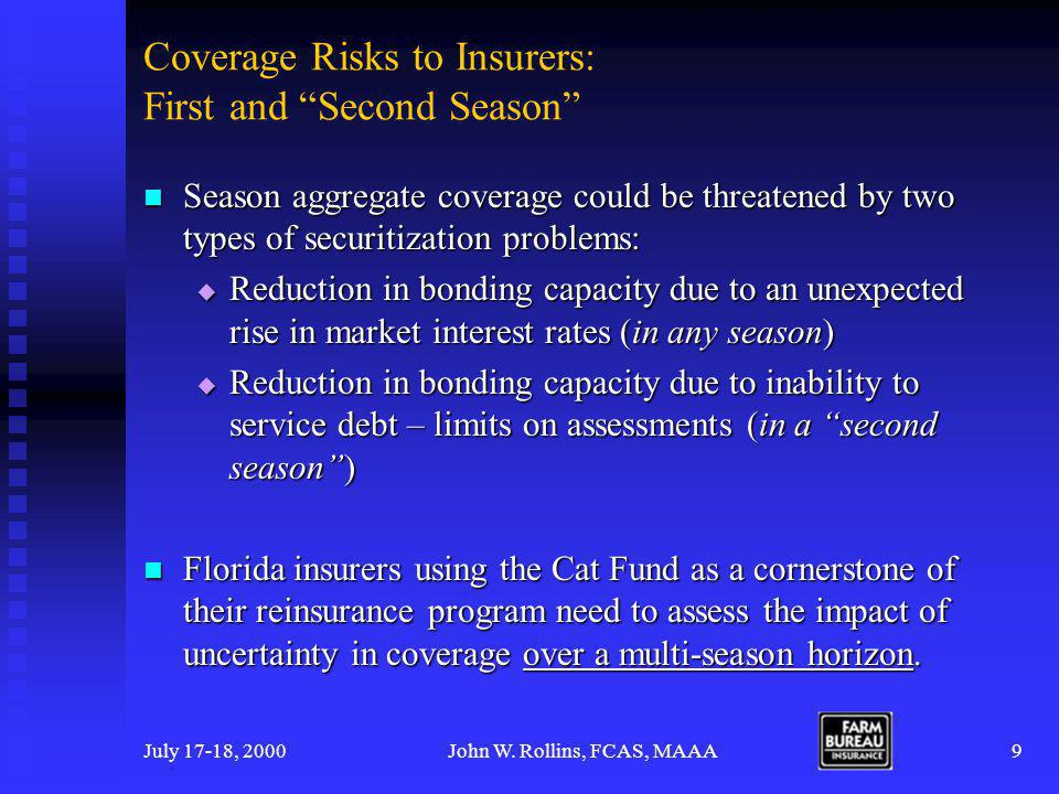 July 17-18, 2000John W.Rollins, FCAS, MAAA10 A Plan for Measuring Second Season Coverage Risk 1.