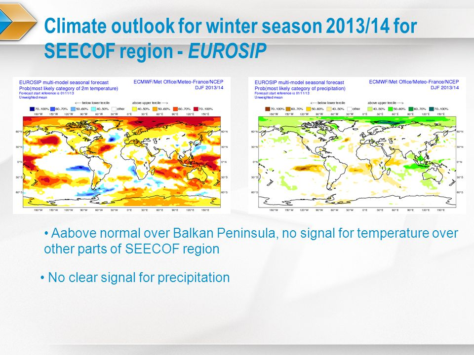 Climate outlook for winter season 2013/14 for SEECOF region - EUROSIP Aabove normal over Balkan Peninsula, no signal for temperature over other parts of SEECOF region No clear signal for precipitation