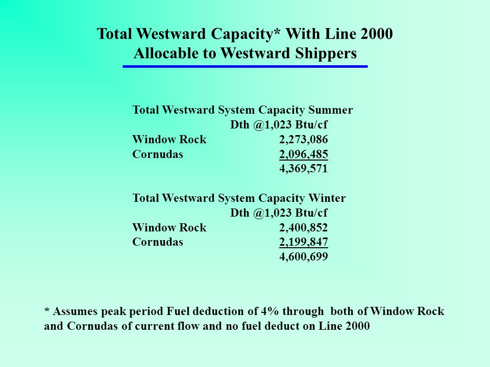 Total Westward System Capacity Summer Dth @1,023 Btu/cf Window Rock 2,273,086 Cornudas2,096,485 4,369,571 Total Westward System Capacity Winter Dth @1,023 Btu/cf Window Rock 2,400,852 Cornudas2,199,847 4,600,699 Total Westward Capacity* With Line 2000 Allocable to Westward Shippers * Assumes peak period Fuel deduction of 4% through both of Window Rock and Cornudas of current flow and no fuel deduct on Line 2000