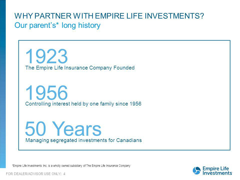 FOR DEALER/ADVISOR USE ONLY| 4 WHY PARTNER WITH EMPIRE LIFE INVESTMENTS? Our parents* long history 1923 1956 Controlling interest held by one family s