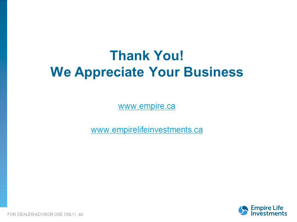 FOR DEALER/ADVISOR USE ONLY| 44 Thank You! We Appreciate Your Business www.empire.ca www.empirelifeinvestments.ca