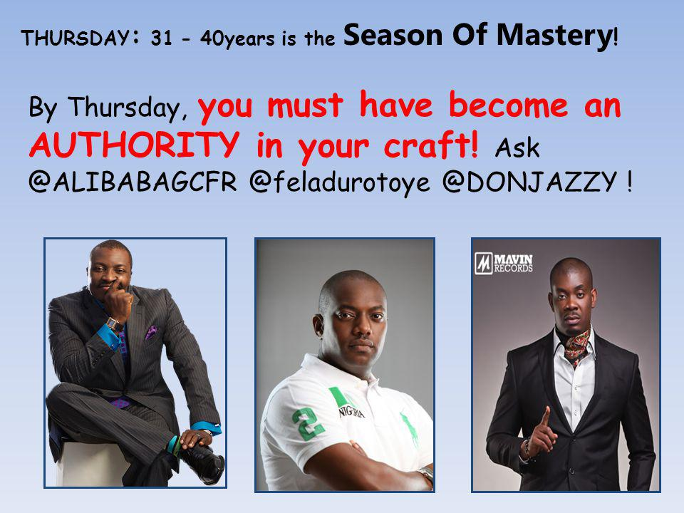 THURSDAY : 31 - 40years is the Season Of Mastery .