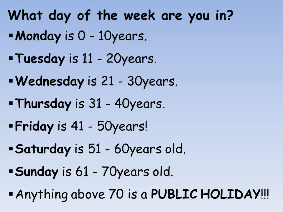 What day of the week are you in. Monday is 0 - 10years.