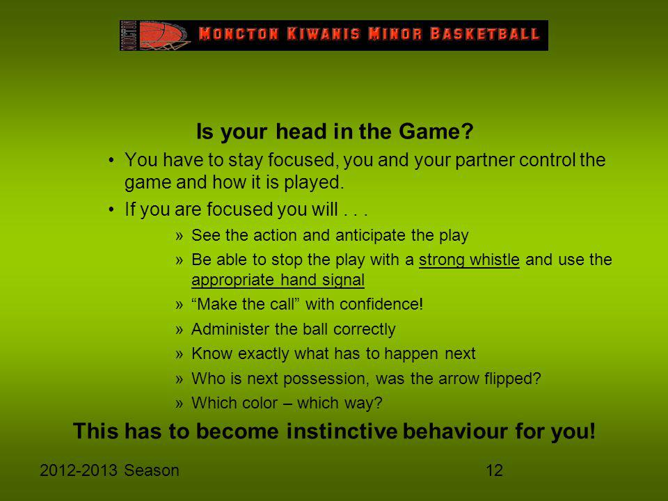 122012-2013 Season Is your head in the Game? You have to stay focused, you and your partner control the game and how it is played. If you are focused