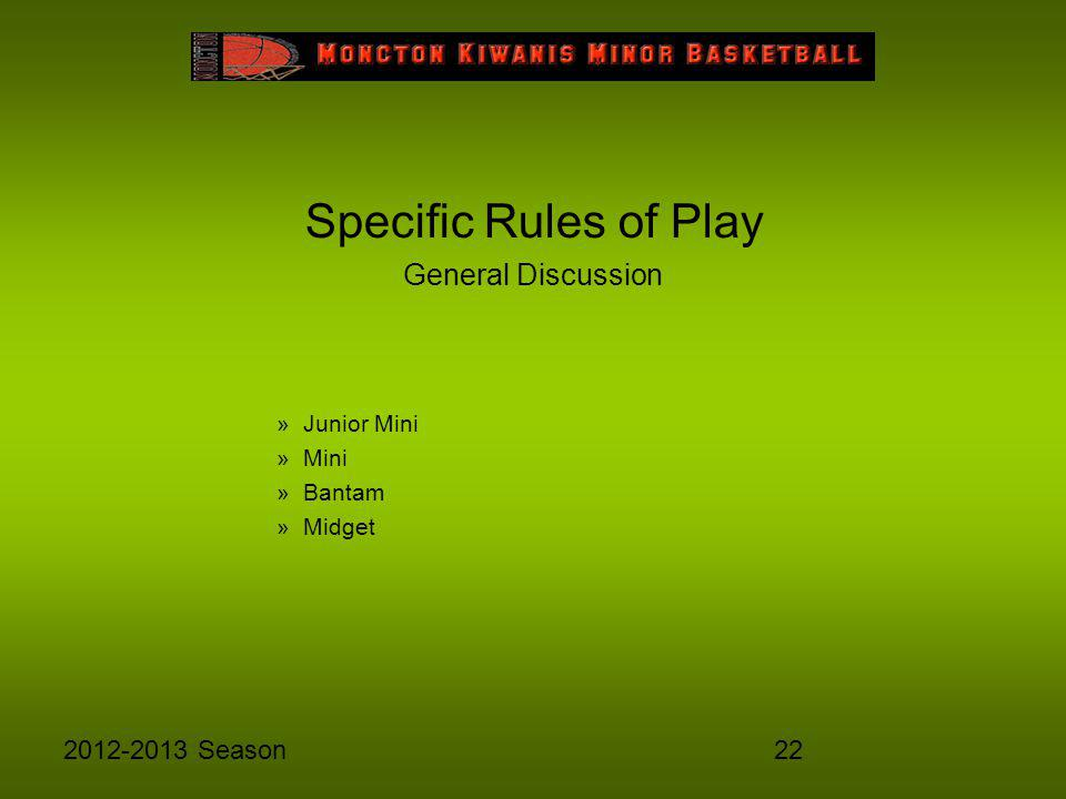 222012-2013 Season Specific Rules of Play General Discussion »Junior Mini »Mini »Bantam »Midget