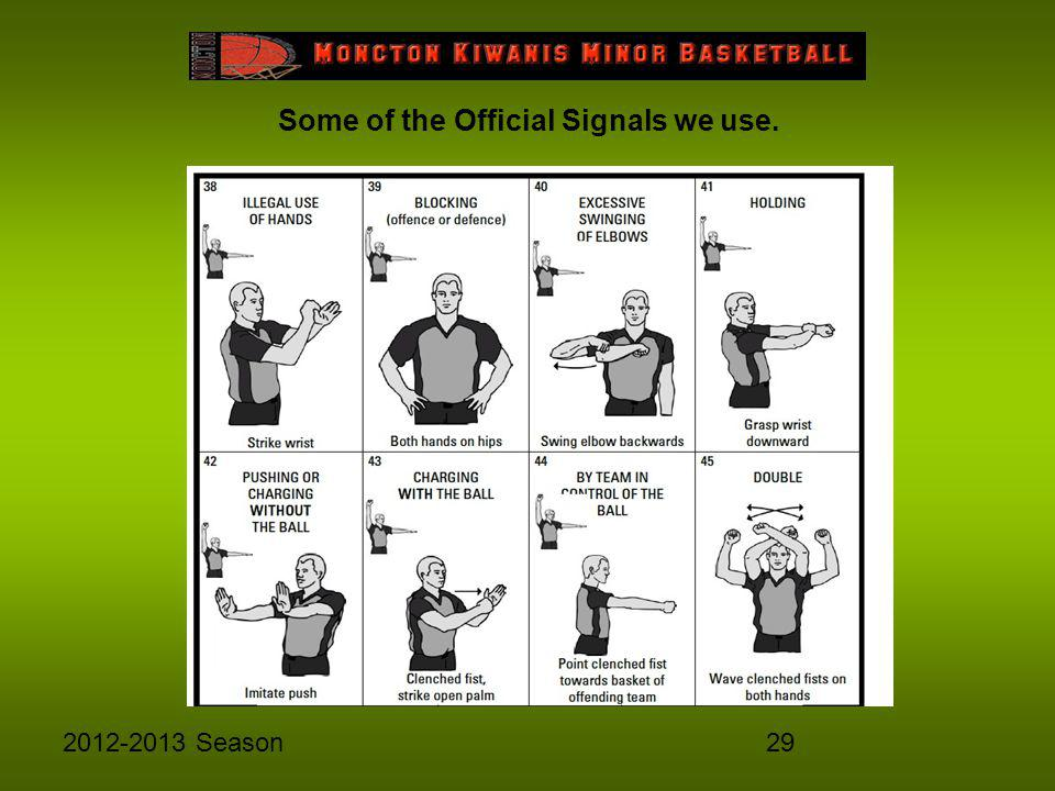 292012-2013 Season Some of the Official Signals we use.