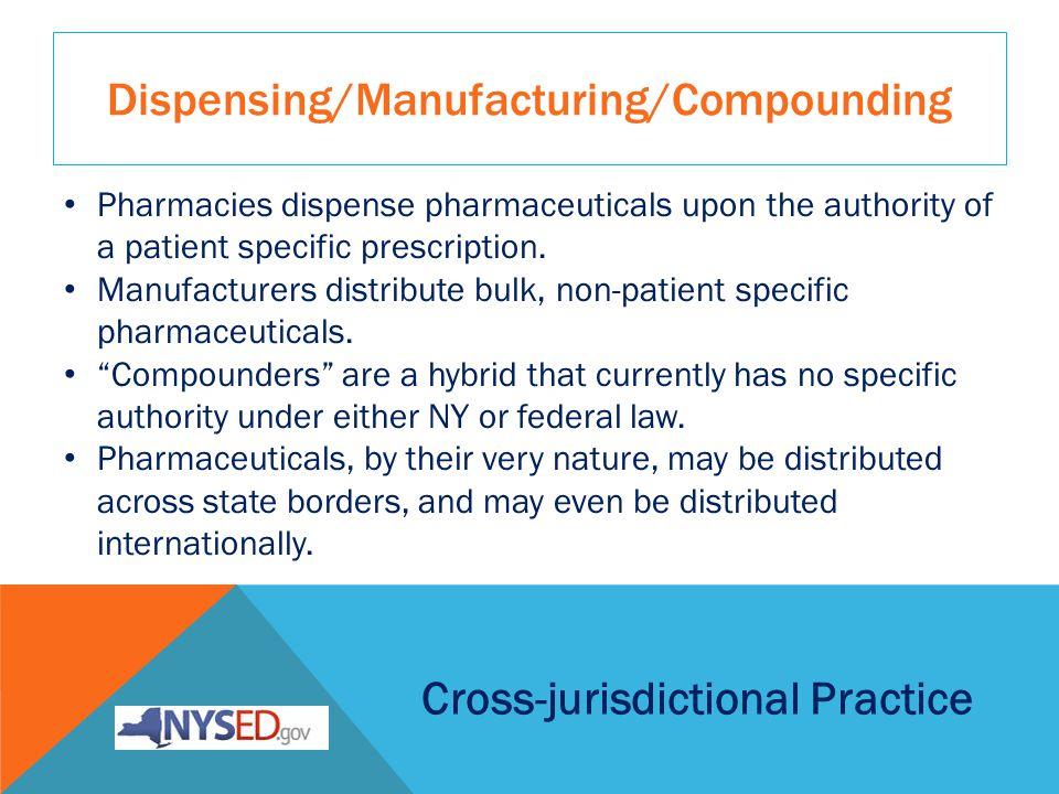 Dispensing/Manufacturing/Compounding Cross-jurisdictional Practice Pharmacies dispense pharmaceuticals upon the authority of a patient specific prescription.