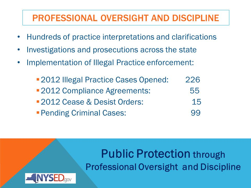 PROFESSIONAL OVERSIGHT AND DISCIPLINE Hundreds of practice interpretations and clarifications Investigations and prosecutions across the state Implementation of Illegal Practice enforcement: 2012 Illegal Practice Cases Opened: 226 2012 Compliance Agreements: 55 2012 Cease & Desist Orders: 15 Pending Criminal Cases: 99 Public Protection through Professional Oversight and Discipline