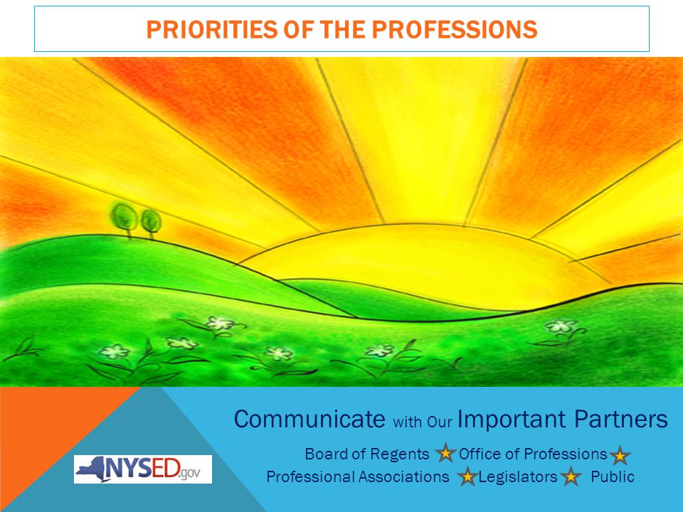 PRIORITIES OF THE PROFESSIONS Communicate with Our Important Partners Board of Regents Office of Professions Professional Associations Legislators Public