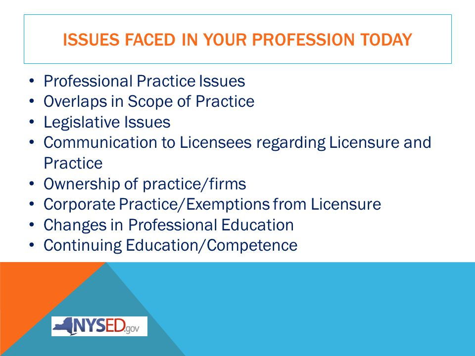 ISSUES FACED IN YOUR PROFESSION TODAY Professional Practice Issues Overlaps in Scope of Practice Legislative Issues Communication to Licensees regarding Licensure and Practice Ownership of practice/firms Corporate Practice/Exemptions from Licensure Changes in Professional Education Continuing Education/Competence