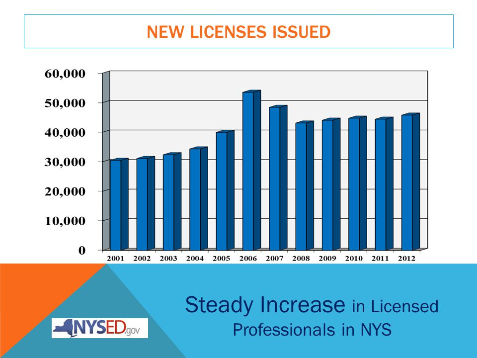 OPERATIONAL RESPONSIBILITY - 2012 New licenses issued45,804 Registrations processed278,511 New filing processed for professional corporations3,480 Candidates took OP-developed licensing exams2,744 Email/telephone inquiries answered1,000,000 NYSED and its Partners support the important role of Licensed Professionals in New York State