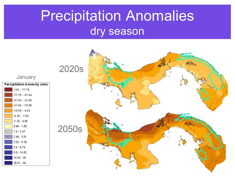 Precipitation Anomalies dry season 2020s 2050s January