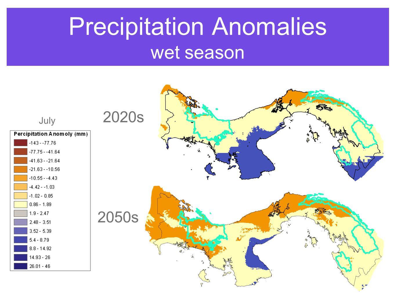 Precipitation Anomalies wet season July 2020s 2050s