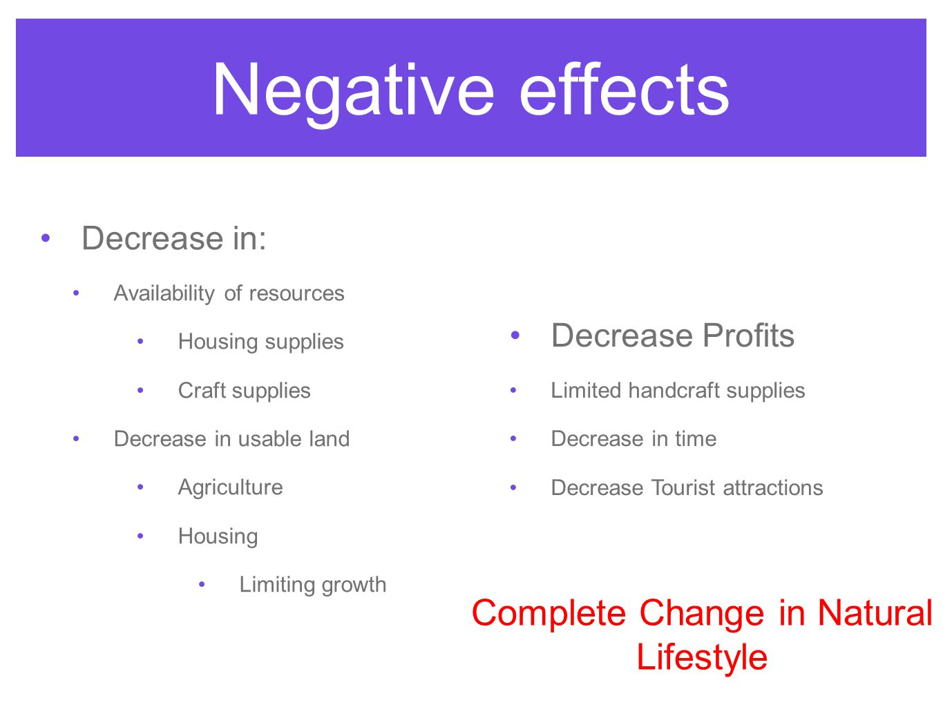 Negative effects Decrease in: Availability of resources Housing supplies Craft supplies Decrease in usable land Agriculture Housing Limiting growth Decrease Profits Limited handcraft supplies Decrease in time Decrease Tourist attractions Complete Change in Natural Lifestyle