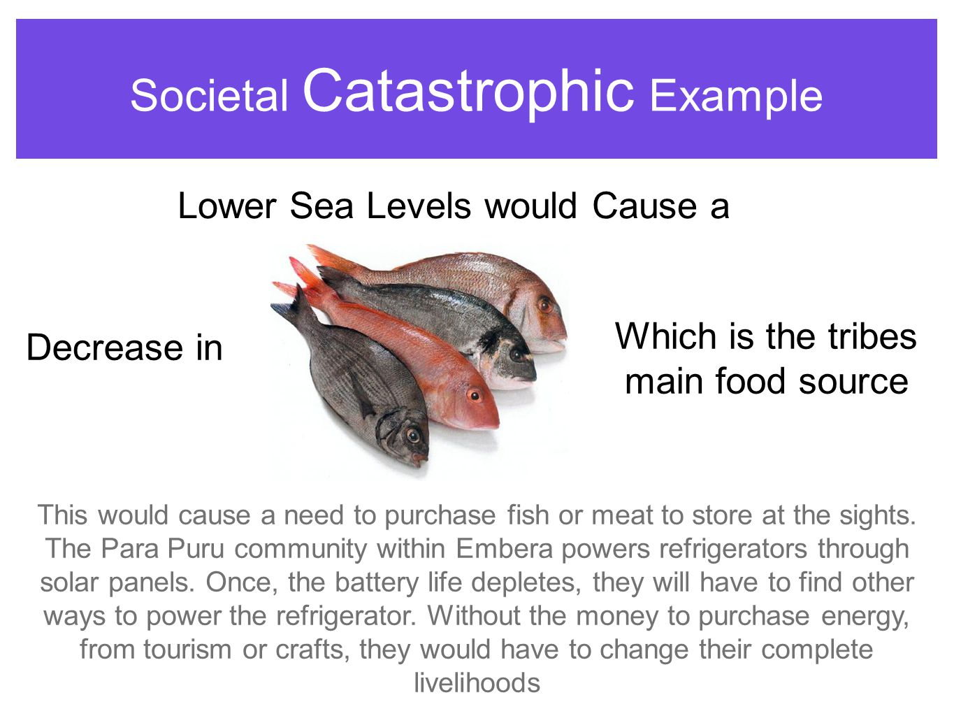 Societal Catastrophic Example Decrease in Lower Sea Levels would Cause a Which is the tribes main food source This would cause a need to purchase fish or meat to store at the sights.
