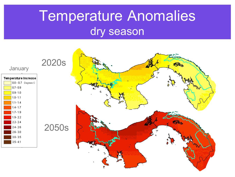 Temperature Anomalies dry season 2050s 2020s January Degrees C