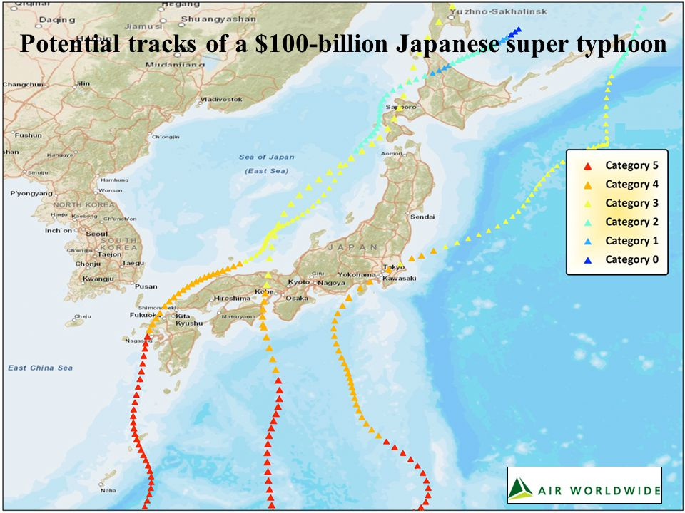 Potential tracks of a $100-billion Japanese super typhoon