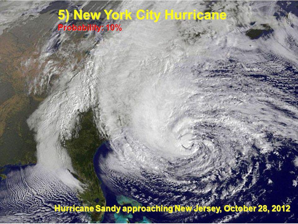 Hurricane Sandy approaching New Jersey, October 28, 2012 5) New York City Hurricane Probability: 10%