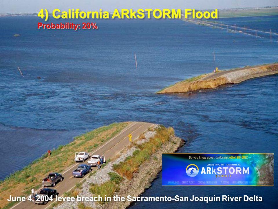 June 4, 2004 levee breach in the Sacramento-San Joaquin River Delta 4) California ARkSTORM Flood Probability: 20% 4) California ARkSTORM Flood Probability: 20%