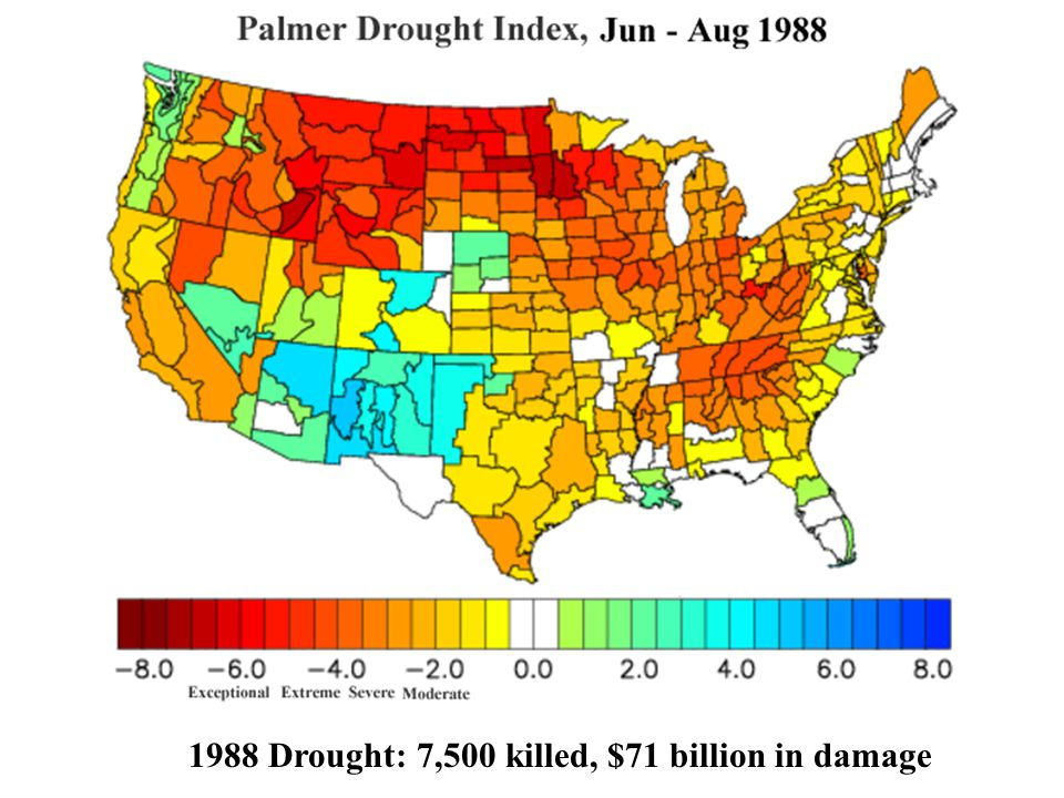 1988 Drought: 7,500 killed, $71 billion in damage