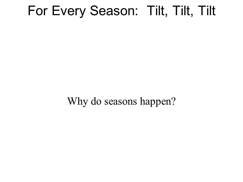 For Every Season: Tilt, Tilt, Tilt Why do seasons happen?
