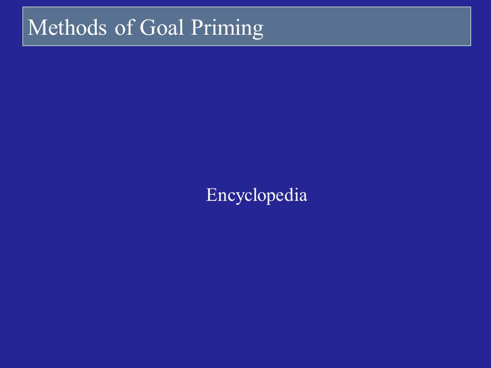 Methods of Goal Priming Encyclopedia