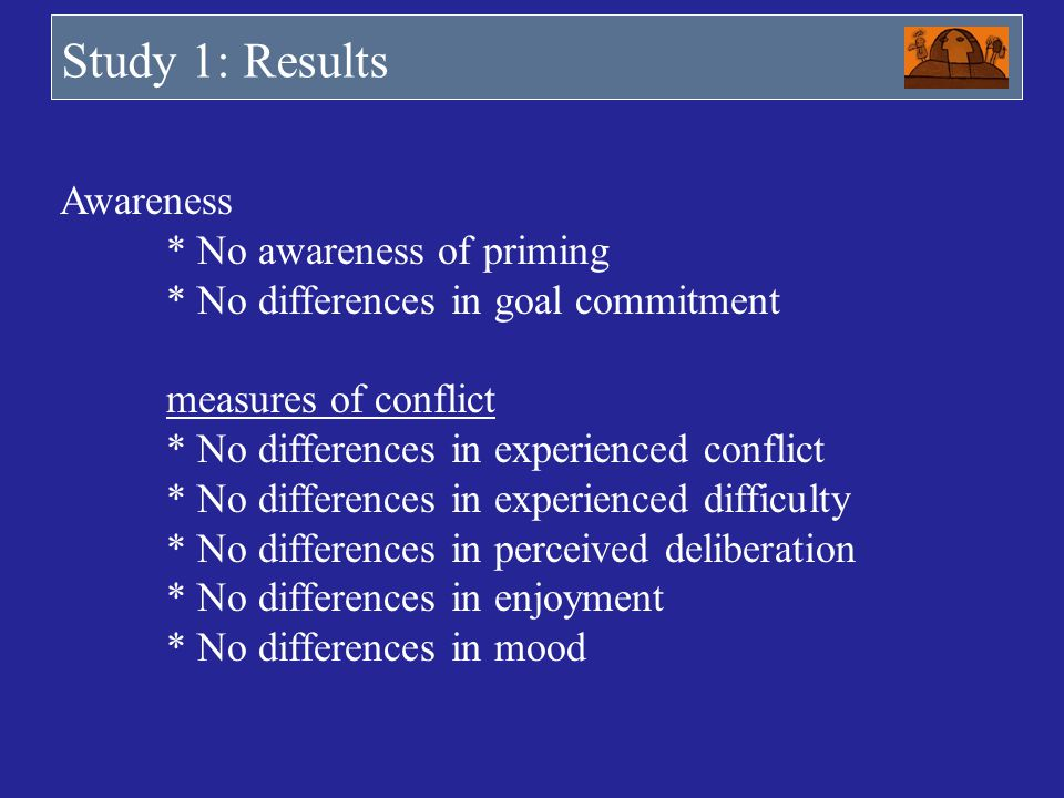 Study 1: Results Commons resources dilemma (5 trials) Awareness * No awareness of priming * No differences in goal commitment measures of conflict * N
