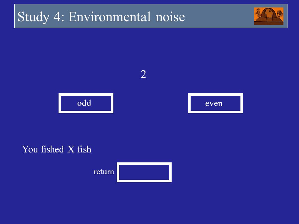 2 odd even You fished X fish return Study 4: Environmental noise