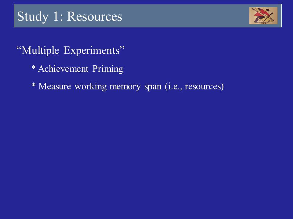 Study 1: Resources Multiple Experiments * Achievement Priming * Measure working memory span (i.e., resources)