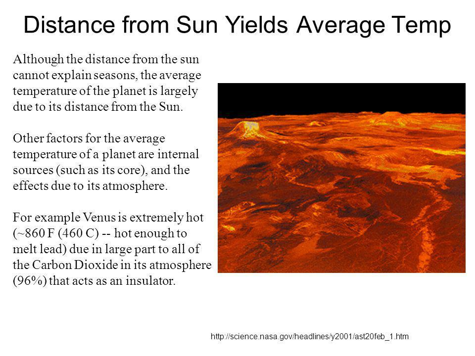 Distance from Sun Yields Average Temp http://science.nasa.gov/headlines/y2001/ast20feb_1.htm Although the distance from the sun cannot explain seasons