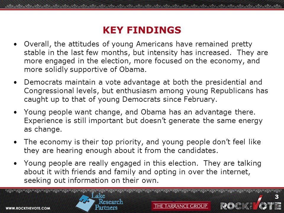 3 KEY FINDINGS Overall, the attitudes of young Americans have remained pretty stable in the last few months, but intensity has increased.