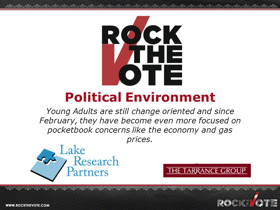 Political Environment Young Adults are still change oriented and since February, they have become even more focused on pocketbook concerns like the economy and gas prices.