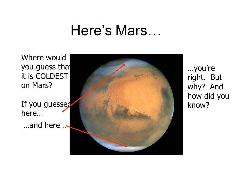 Heres Mars… Where would you guess that it is COLDEST on Mars? If you guessed here… …and here… …youre right. But why? And how did you know?