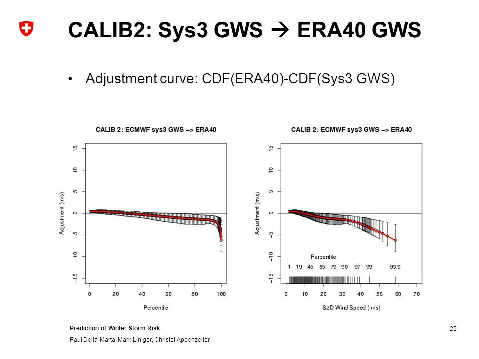 26 Prediction of Winter Storm Risk Paul Della-Marta, Mark Liniger, Christof Appenzeller CALIB2: Sys3 GWS ERA40 GWS Adjustment curve: CDF(ERA40)-CDF(Sys3 GWS)