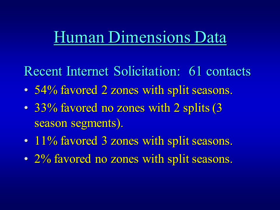 Human Dimensions Data Recent Internet Solicitation: 61 contacts 54% favored 2 zones with split seasons.54% favored 2 zones with split seasons.