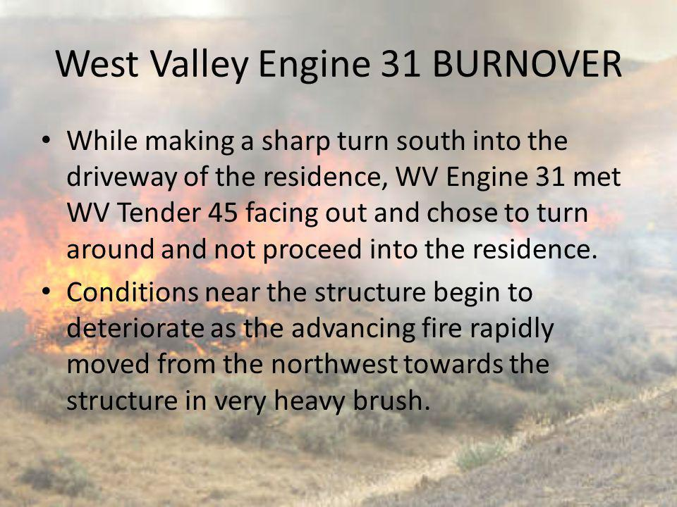 While making a sharp turn south into the driveway of the residence, WV Engine 31 met WV Tender 45 facing out and chose to turn around and not proceed