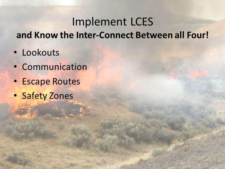 Implement LCES and Know the Inter-Connect Between all Four! Lookouts Communication Escape Routes Safety Zones