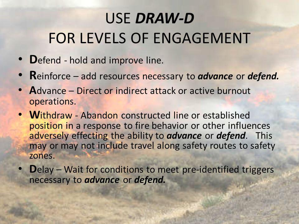 D efend - hold and improve line. R einforce – add resources necessary to advance or defend. A dvance – Direct or indirect attack or active burnout ope