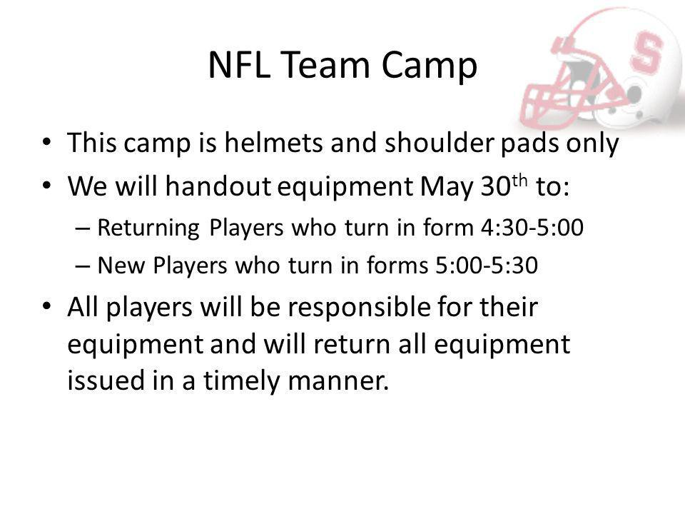 NFL Team Camp This camp is helmets and shoulder pads only We will handout equipment May 30 th to: – Returning Players who turn in form 4:30-5:00 – New