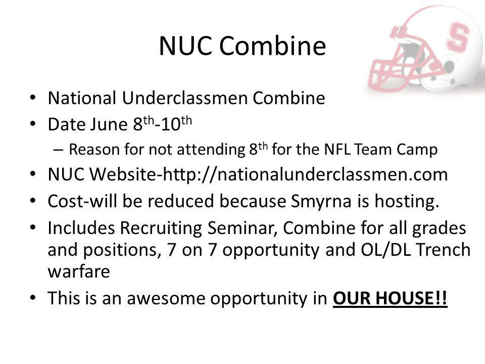 NUC Combine National Underclassmen Combine Date June 8 th -10 th – Reason for not attending 8 th for the NFL Team Camp NUC Website-http://nationalunderclassmen.com Cost-will be reduced because Smyrna is hosting.