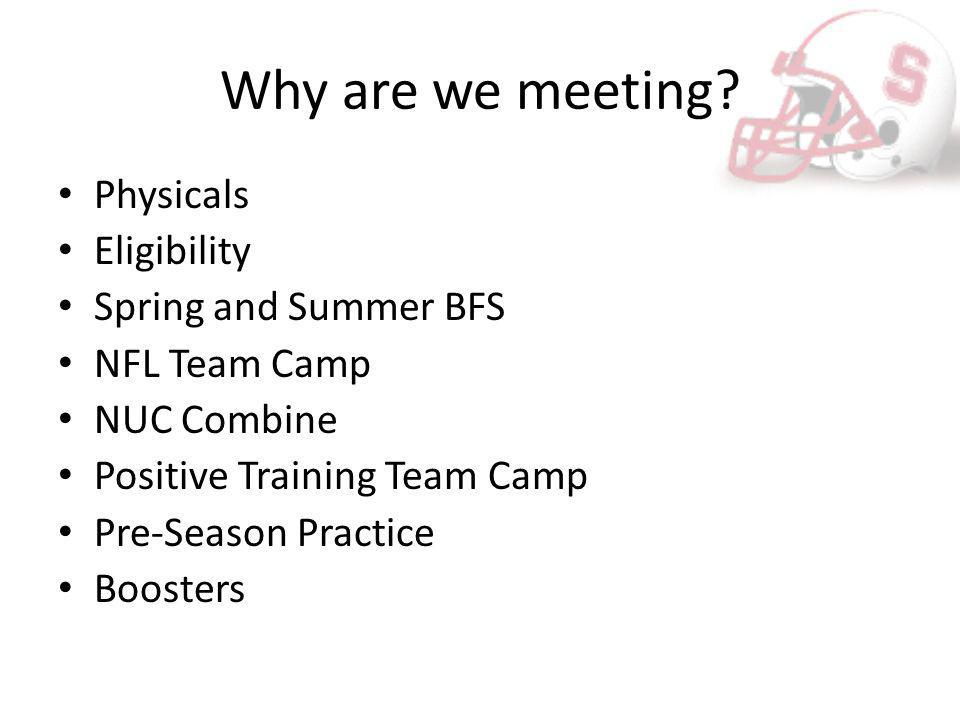 Why are we meeting? Physicals Eligibility Spring and Summer BFS NFL Team Camp NUC Combine Positive Training Team Camp Pre-Season Practice Boosters
