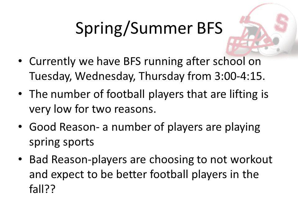 Spring/Summer BFS If your player has not made the Spring BFS and they are not playing a spring sport, We Want Them in the Weight Room!.
