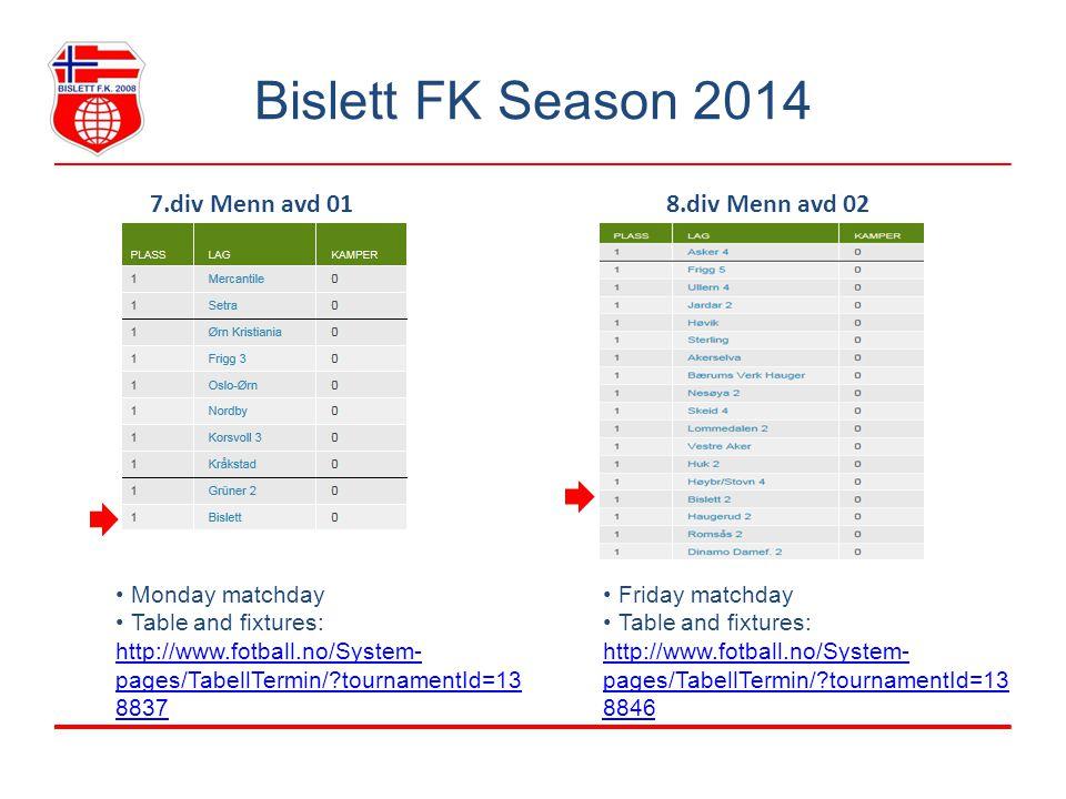 Bislett FK Season 2014 7.div Menn avd 01 Monday matchday Table and fixtures: http://www.fotball.no/System- pages/TabellTermin/ tournamentId=13 8837 http://www.fotball.no/System- pages/TabellTermin/ tournamentId=13 8837 8.div Menn avd 02 Friday matchday Table and fixtures: http://www.fotball.no/System- pages/TabellTermin/ tournamentId=13 8846 http://www.fotball.no/System- pages/TabellTermin/ tournamentId=13 8846