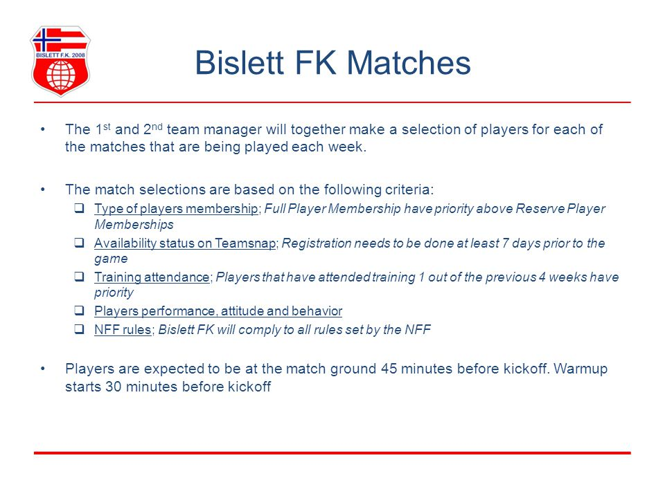 Bislett FK Training General Training is an essential part of Bislett FK, both for improving our performance as a team as well as from a social perspective.