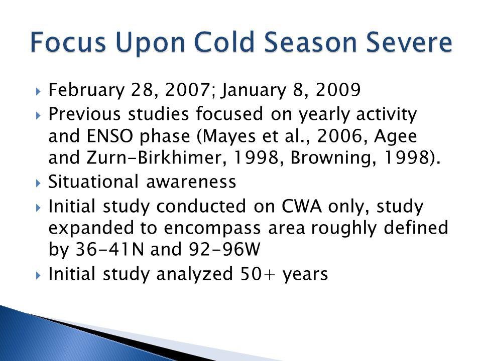 February 28, 2007; January 8, 2009 Previous studies focused on yearly activity and ENSO phase (Mayes et al., 2006, Agee and Zurn-Birkhimer, 1998, Browning, 1998).