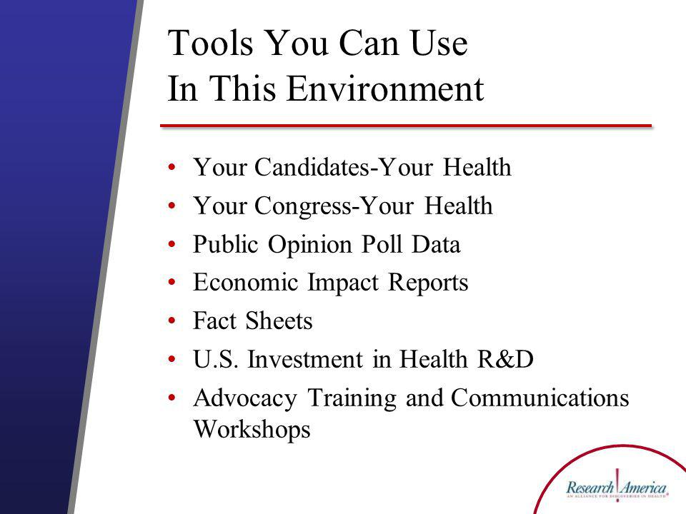 Tools You Can Use In This Environment Your Candidates-Your Health Your Congress-Your Health Public Opinion Poll Data Economic Impact Reports Fact Sheets U.S.