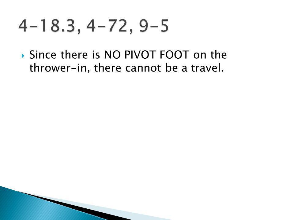 Since there is NO PIVOT FOOT on the thrower-in, there cannot be a travel.