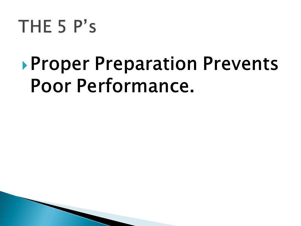 Proper Preparation Prevents Poor Performance.
