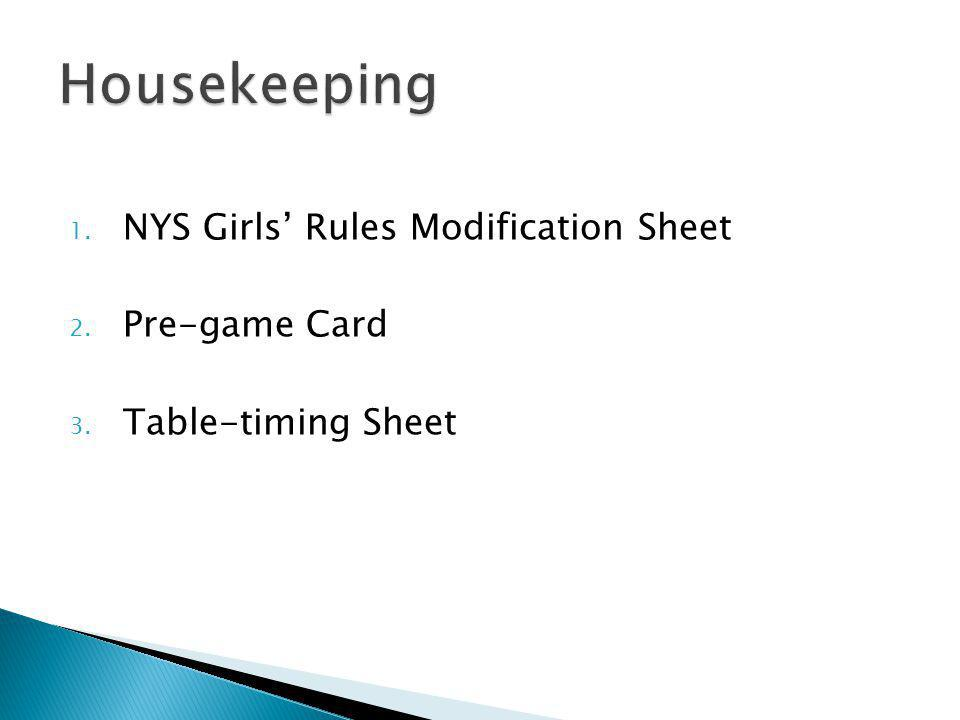 1. NYS Girls Rules Modification Sheet 2. Pre-game Card 3. Table-timing Sheet